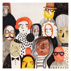Mészely Ilka | muted color palette | oranges yellows browns and blacks | faces and people illustration | watercolor | perfect for children's book characters