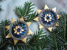 Tolle Weihnachtsdekoration,  Stern in blau-gold