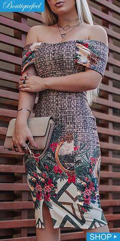 Print Off Shoulder Bodycon Dress Stunning Dresses, Beautiful Outfits, Cute Dresses, Short Dresses, Evening Dresses, Summer Dresses, Elegant Woman, Homecoming Dresses, Designer Dresses