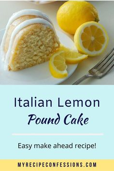 Italian Lemon Pound Cake is the only lemon pound cake you will ever need. The moist texture and rich citrus flavor will have you hooked after just one bite! Lemon Desserts, Lemon Recipes, Sweet Recipes, Delicious Desserts, Cake Recipes, Dessert Recipes, Yummy Food, Easter Recipes, Recipes Dinner