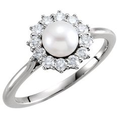 Freshwater Pearl and 1/3 Carat Diamond Halo Ring (12.365 ARS) ❤ liked on Polyvore featuring jewelry, rings, freshwater pearl jewelry, fresh water pearl jewelry, fresh water pearl ring, freshwater pearl ring and halo diamond ring