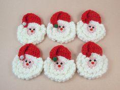 Crochet Santa Face Brooch Set of Six