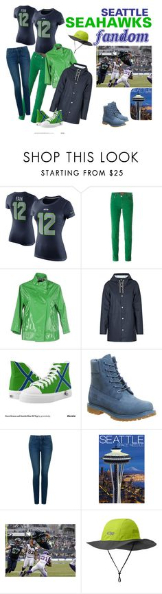 """""""Seattle Seahawks Fandom"""" by scarebabygifts on Polyvore featuring NIKE, Jacob Cohёn, Colmar, Stutterheim, Timberland, NYDJ, Outdoor Research, seattle and seahawks"""