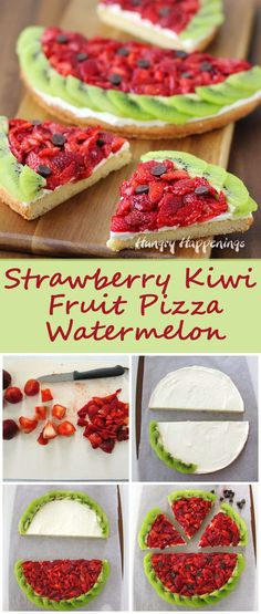 Strawberry Kiwi Fruit Pizza Watermelon Here's a fun summer recipe that isn't exactly as it appears. This Strawberry Kiwi Fruit Pizza looks like a watermelon but tastes like a dessert. Brownie Desserts, Köstliche Desserts, Delicious Desserts, Dessert Recipes, Yummy Food, Coctails Recipes, Recipes Dinner, Yummy Yummy, Dessert Pizza