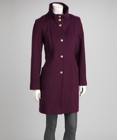 Take a look at this George Simonton Purple & Gold Wool-Blend Coat on zulily today!