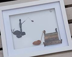 Fathers Day, Fisherman, Pebble Art, Pebble Art Fishing, Gift for Dad, Fishing, Stone Art, Pebble Fishing, Pebbles,