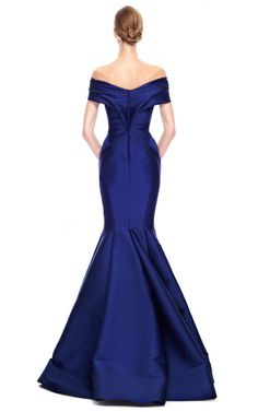 Stretch Duchess Off-The-Shoulder Gown by Zac Posen for Preorder on Moda Operandi