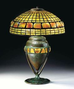 """Tiffany Studios, New York, Favrile Leaded Glass and Patinated Bronze """"Turtle Back Tile"""" Lamp."""