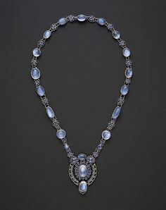 Necklace with Pendant  Designed by Louis Comfort Tiffany  (American, New York City 1848–1933 New York City)  Moonstones, sapphires, platinum