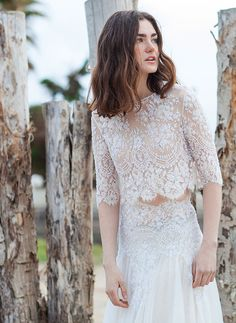 Cristos Costarellos Bridal 2016 Wedding Dresses - Stunningly Sheer Lace Bridal Top 42 Bridal Skirt 43 | See the rest of the collection on www.onefabday.com