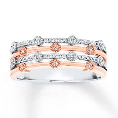 Spring bling is made easy with this two-tone white and rose gold layered diamond ring!