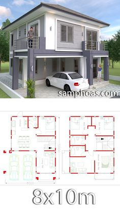4 Bedrooms Home Design Plan This villa is modeling by SAM-ARCHITECT With Two stories level. It's has 4 bedrooms.Simple Home Design Simple House Plans, Simple House Design, Modern House Plans, Modern House Design, Home Modern, House Design Plans, Minimalist House Design, Modern Contemporary, 4 Bedroom House Plans
