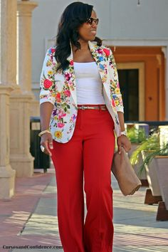 Red pants and floral blazer