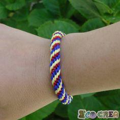 Pulsera Kumihimo Friendship bracelet tricolor amarillo azul y rojo de ECOCREA en Etsy