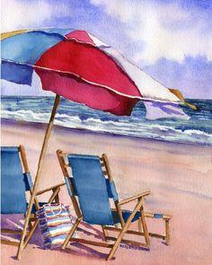 Patriotic Beach Umbrellas watercolor ____artist not identified