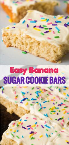 Banana Sugar Cookie Bars Easy sugar cookie bars made with ripe bananas. These banana cookie bars are topped with vanilla frosting and colourful sprinkles. Easy Desserts For Kids, Kid Desserts, Delicious Desserts, Sugar Cookie Bars, Easy Sugar Cookies, Cookie Swap, Cake Pops, Brownies, Ripe Banana Recipe