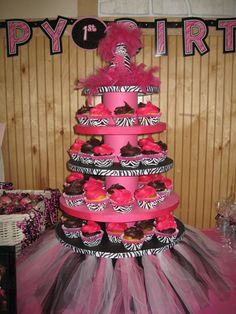 Rock star themed party cupcake tier.