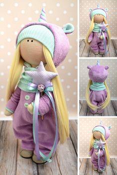 Unicorn Art Doll Handmade Soft Doll Fabric Rag Doll Textile Cloth Doll Nursery Decor Doll Purple Gift Doll Tilda Baby Doll by Evgenia
