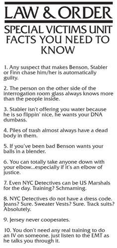 Law and Order: SVU, what I learned from the show. Mariska Hargitay, Chris Meloni, Olivia Benson, Elliot Stabler