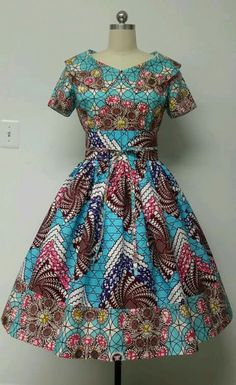 Mid-Low back. This is a fully lined multi fabric fitted waistline dress with rolled collar, Obi sash, and attached petticoat. African Dresses For Women, African Print Dresses, African Attire, African Fashion Dresses, African Wear, African Women, Nigerian Fashion, Ghanaian Fashion, African Prints