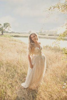 glittery gold wedding dress