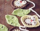 crochet owl garland / crochet home decoration / crochet owl / woodland crochet owl nursery kids room play room yellow green brown