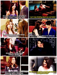 Lily Aldrin crushing on Robin Scherbatsky on How I Met Your Mother
