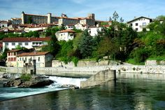 Un des plus beaux villages de France - one of France's most beautiful villages, Saint-Lizier in the Ariège Pyrenees which sits alongside the Salat river just downstream from Saint Girons Beaux Villages, France, Most Beautiful, Barcelona, River, Mansions, House Styles, Countries, Manor Houses