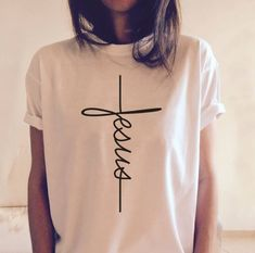 Jesus T-shirt Christian Religious Shirt Tops Tees Best Gifts For Church Disciple Jesus Shirts, Look Fashion, Womens Fashion, Fashion Clothes, T Shirt Fashion, Casual Clothes, Fashion 2018, Ladies Fashion, Fashion Photo