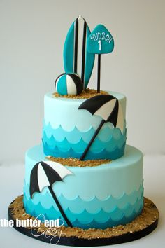 Beach, waves and surfboard cake by The Butter End Cakery, Santa Monica, CA