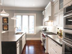 Custom Hood cabinet. Painted cabinetry, Caesarstone quartz waterfall island. Transitional dream kitchen! Transitional Kitchen, Transitional Style, Waterfall Island, Kitchen Styling, Remodeling, Bathrooms, Kitchen Cabinets, Quartz, House