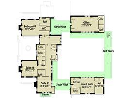 Castle House Plan with Six Master Suites for a Hillside Lot - floor plan - Second Level Castle Floor Plan, Castle House Plans, House Plans Mansion, 6 Bedroom House Plans, Roof Truss Design, Courtyard House Plans, Mountain House Plans, Roof Styles, House Blueprints