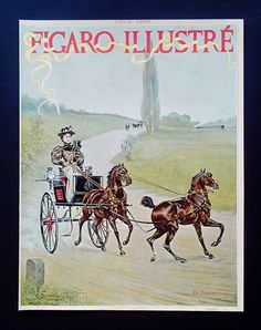 COUVERTURE COVER PAGE GRAVURE HARRY FINNEY VOITURE A CHEVAL EN TANDEM TRAIN 1895