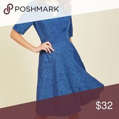 """Size 1x Cerulean Dress NWOT. Only tried on. Brand: Lace and Mesh. Sold on ModCloth as """"Curated Cartographer Floral Dress in Cerulean"""" The bust runs a tad big. ModCloth Dresses"""