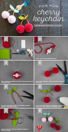 DIY Tutorial: Cherry Pom-Pom Keychains - Lia Griffith Cherry Pom Pom DIY ~ Mary Wald's Place -   Tutorial for making a cherry pom-pom keychain<br> These cherry pom-pom keychains are a great end-of-summer craft and perfect for back to school. Check out this tutorial to see how easy they are to make! Pom Pom Crafts, Yarn Crafts, Diy And Crafts, Crafts For Kids, Pom Pom Diy, Preschool Crafts, Kids Diy, Creative Crafts, Easter Crafts