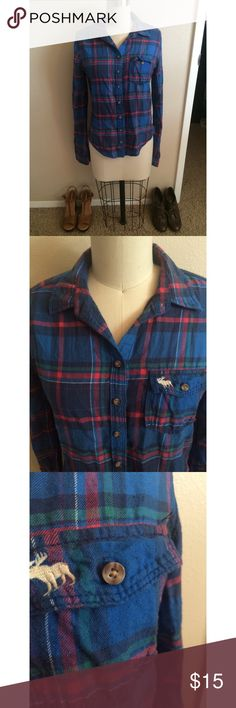 Abercrombie & Fitch Flannel Open to all offers. Super comfy flannel that is in great condition. Cute left open with a graphic tee under neath or buttoned up with sleeves rolled. Check out my page for more cute stuff! I mostly sell clothing/accessories/jewelry/makeup!  Abercrombie & Fitch Tops Button Down Shirts