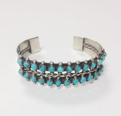 1940's Zuni Sterling Silver Turquoise Cuff Bracelet by LillianRuth, $125.00