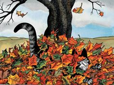 Kliban Cat hiding in the Leaves Cool Cats, I Love Cats, Crazy Cat Lady, Crazy Cats, Chat Web, Catsu The Cat, Kliban Cat, Gatos Cats, Laurel Burch