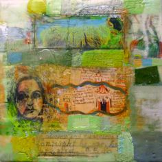 Encaustic and collage on birch panel