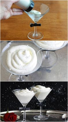 Sparkly White Chocolate Mousse for New Year's Eve. Or on Mondays. Or Tuesdays. Or Wednesdays. Or Thursdays. Or Fridays. Or the weekends. Just Desserts, Delicious Desserts, Dessert Recipes, Yummy Food, Drink Recipes, New Recipes, Cooking Recipes, Favorite Recipes, White Chocolate Mousse