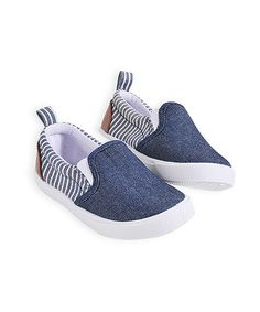 Take a look at this Blue Contrast Denim Slip-Ons by Pumpkin Patch on #