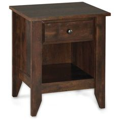 Better Homes and Gardens Leighton Night Stand, Rustic Cherry Finish, Red