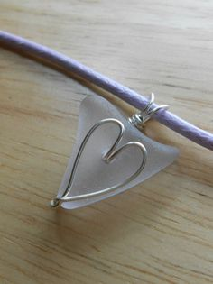 Sea Glass Necklace  Beach Glass Heart Wrap by SeaFindDesigns, $25.00
