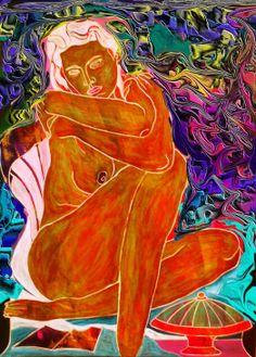 """La danza """"donna seduta"""" lit. 42x32 a. 2003"""