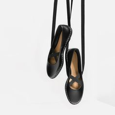 Image 1 of LACE-UP BALLERINAS WITH TOPSTITCHING from Zara