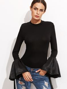 Online shopping for Black Bell Sleeve Slim T-Shirt from a great selection of women's fashion clothing & more at MakeMeChic.COM.
