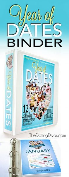 The Year of Dates Binder- the PERFECT Christmas present for the hubby. {Or an amazing wedding/ bridal shower gift}  www.TheDatingDivas.com