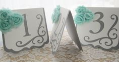 """Wedding Table Numbers - """"Flourish"""" in Light Grey and White w/ Seafoam Minty Green Chiffon Accents and Swirl - Choose Your Colors"""