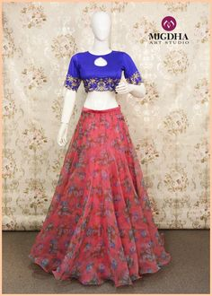 Up your selfie game this Navratri with lovely hand embroidered crop top blouse from Mugdha...!!Dazzling Ink blue crop top teamed up with floral Organza skirt...!!Grab it soon.....Product code: CRP0012For orders/Enquiries - Contact Details:040-65550855/9949047889Watsapp:9010906544Email-id:Mugdha410@gmail.comInstagram:MugdhaArtStudio  07 October 2016
