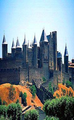Castillo de Carcassonne medieval en Francia